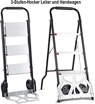 costway carretilla carretilla de transporte carretilla de escaleras con 3 etapas Escalera Neumáticos Tranvía Escaleras Escalera plegable: Amazon.es: Bricolaje y herramientas