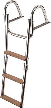 Escalera Escalera 4 Peldaños, Acero Inoxidable, Madera de Teca Para Barco Gommone 96 cm: Amazon.es: Deportes y aire libre