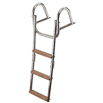 Escalera Escalera 4 Peldaños, Acero Inoxidable, Madera de ...