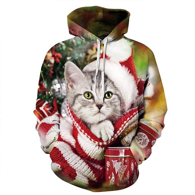 Ainuno Unisex Couple 3D Ugly Christmas Sweatshirt Hoodies Pullover LadyCat XXL