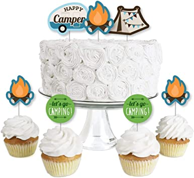 Amazon.com: Happy Camper – Decoración para cupcakes de ...