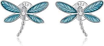 GDDX Plata de ley Retro lindo copo de nieve Ángel árbol de la vida gato lagarto mariposa libélula zorro Animal pendientes joyería para mujer