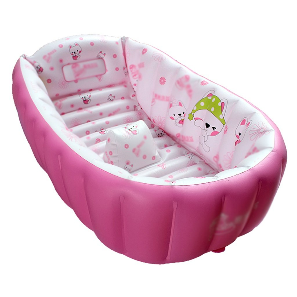 Bathtubs Freestanding Inflatable Folding tub Baby tub Home Environmental PVC Material Thickening Warm Non-Toxic no Smell Non-Slip Design Blue Pink (Color : Pink)