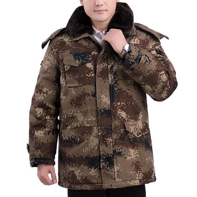 XFentech Abrigo - Espesar Chaqueta de Invierno para Hombre con Sombrero, Cuello de Piel: Amazon.es: Ropa y accesorios