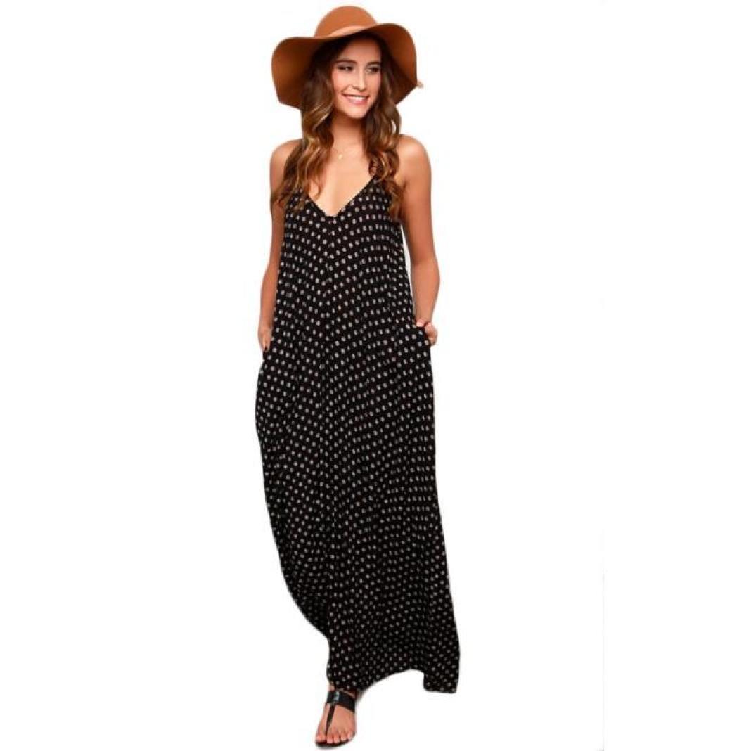 Gotd Women Boho Polka Dot Print Chiffon Maxi dressV-neck Summer Beach Dress (L)