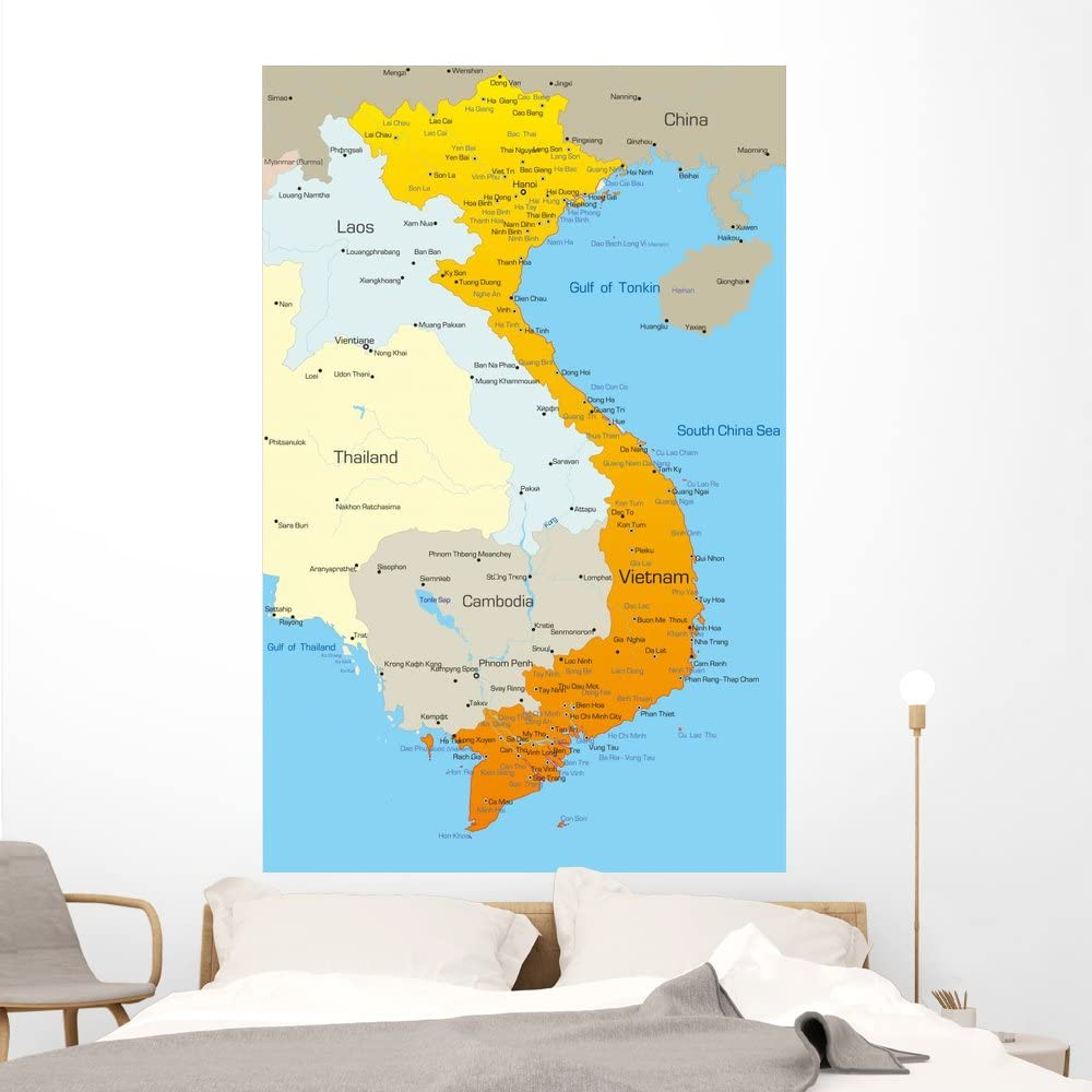 Amazon Com Wallmonkeys Vector Map Vietnam Country Wall Mural Peel And Stick Graphic 60 In H X 39 In W Wm207731 Kitchen Dining