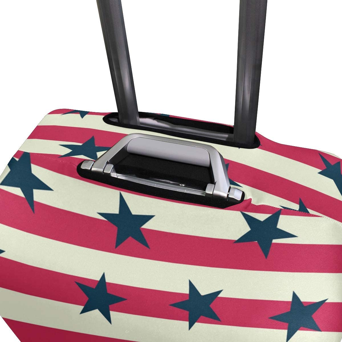 Travel Luggage Cover Red White Striped Navy Stars Pattern Suitcase Protector