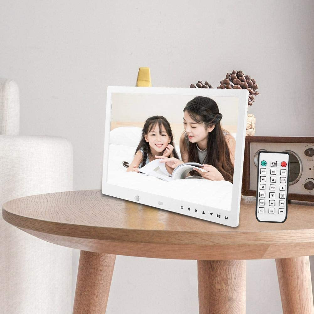 Black US Plug Digital Photo Frame 13 Inch HD Multi-Function Motion Detection Digital Photo Frame Music Movie Player Remote Control with Motion Detection Function