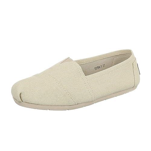 Ital-Design - Mocasines de tela para mujer, color beige, talla 37: Amazon.es: Zapatos y complementos