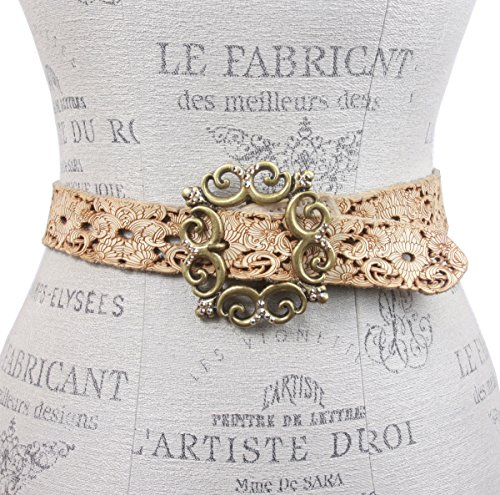 Leatherock Soft Hand Perforated Leather Belt with Floral Rhinestone buckle Size: 36 Color: White