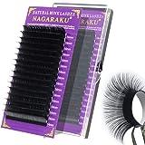 NAGARAKU Eyelash Extensions Russian Volume 16 Rows Matte Black 0.05mm C curl 8mm Classic Individual Eyelashes Silk Faux Mink Lashes Professional