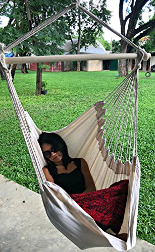 Large Brazilian Hammock Chair by Hammock Sky - Quality Cotton Weave for Superior Comfort & Durability - Extra Long Bed - Hanging Chair for Yard, Bedroom, Porch, Indoor/Outdoor (Natural)