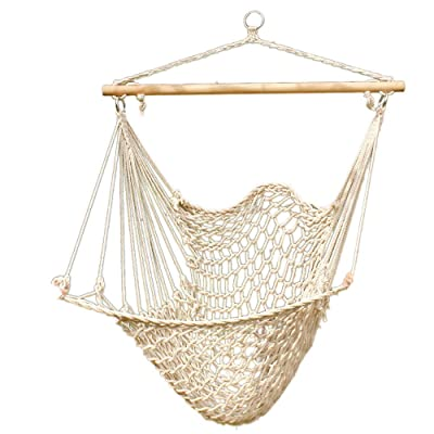 Hammock Cotton Swing Camping Hanging Rope New Chair Wooden Beige White Outdoor: Sports & Outdoors