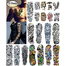 DaLin Extra Large Temporary Tattoos Full Arm and Half Arm Tattoo Sleeves 20 Sheets