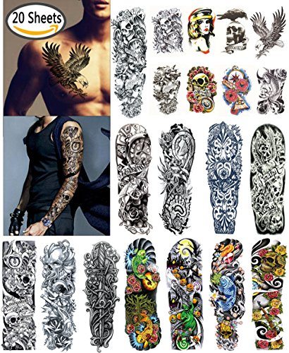 DaLin Extra Large Temporary Tattoos Full Arm and Half Arm Tattoo Sleeves for Men Women 20 Sheets by DaLin Temporary Tattoo