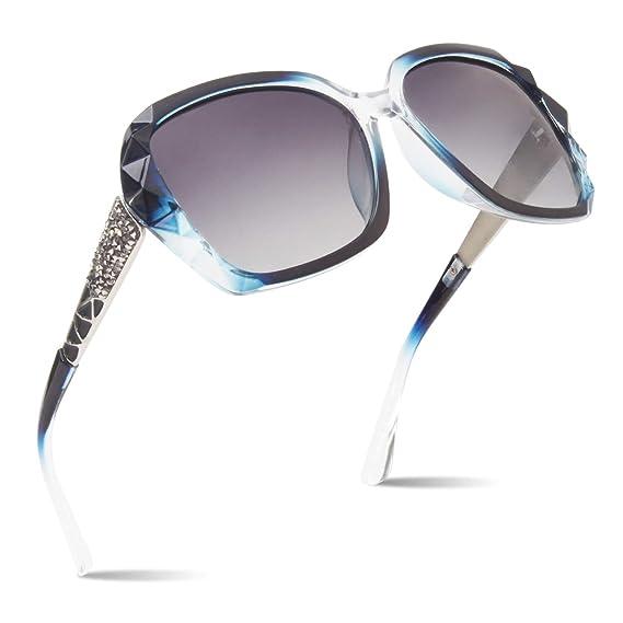 CGID Lentes Clásicos para el sol polarizados para mujer 100% UV400 Gafas Armazón corte diamante M186
