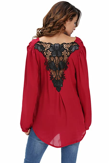 Nuevas señoras rojo Crochet espalda Wrap Front Blusa Top Club wear fiesta wear casual wear ropa