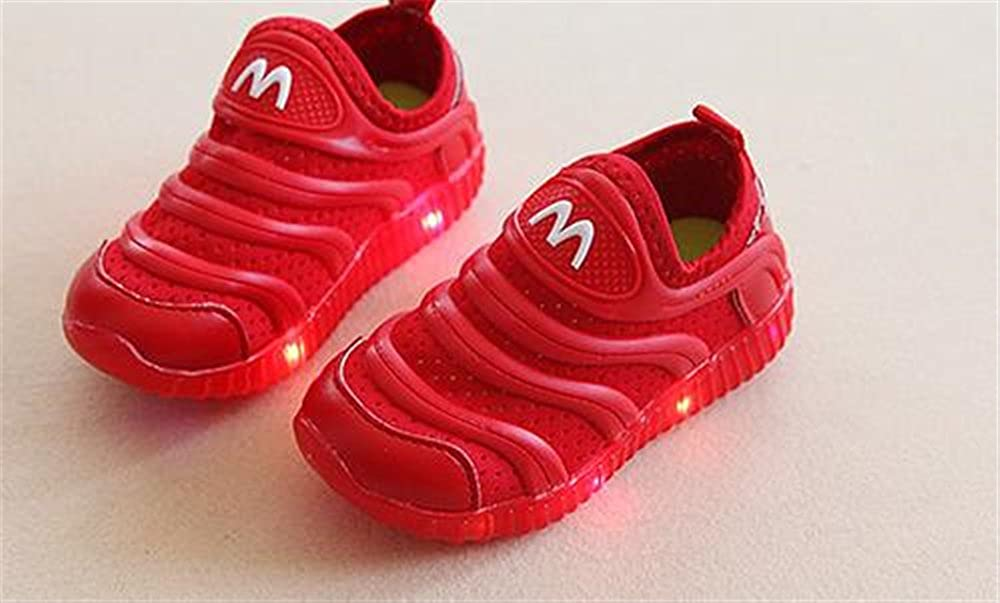 Red-31//13 M US Little Kid Rose town Kids LED Light Up Shoes Luminous Flashing Sneakers for Boys Girls