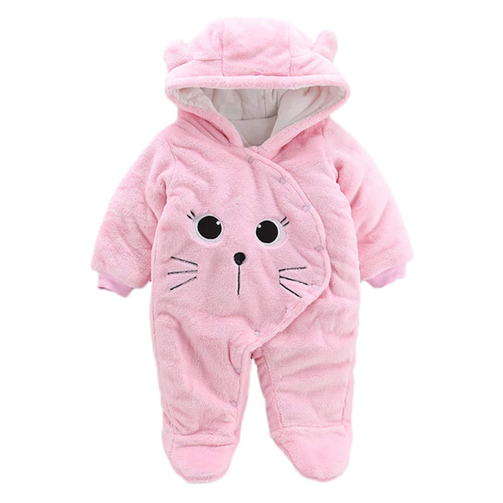0-24 Months Baby Girl Boy Winter Warm Hooded Romper Pajamas Solid Cartoon Cat Plus Thick Velvet Jumpsuit (Pink, 6 Months)