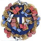 Anchor Wreath | Nautical Decor | Jute Burlap Front Door Wreath | Navy Blue Red White