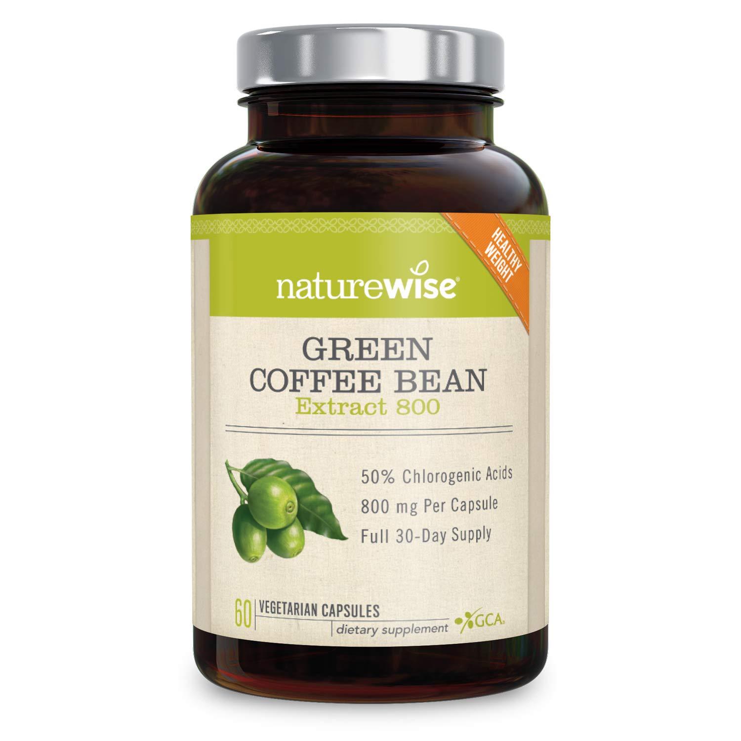 NatureWise Green Coffee Bean 800mg Max Potency Extract 50% Chlorogenic Acids | Raw Green Coffee Antioxidant Supplement & Metabolism Booster for Weight Loss | Non-GMO, Vegan, Gluten-Free [2 Month] by NatureWise (Image #1)