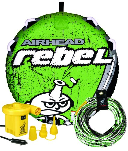 Airhead Rebel Kit | 1 Rider Towable Tube w/Rope & Pump