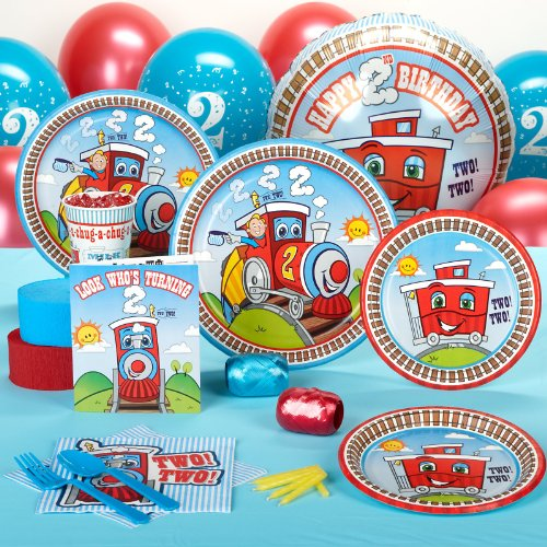 2nd Birthday Train Party Supplies - Standard Party Pack for