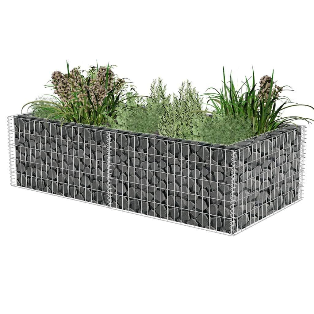 Retrome Gabion Planter Vegetable Bed Gabion Basket - Silver Galvanised Steel 71''x35.4''x19.7''