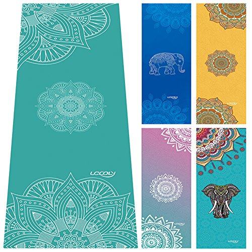 UCOOLY Hot Yoga Towel,Ultra Sweat Absorbent, Skidless Non-Slip Hot Yoga Towels for Bikram, Ashtanga, Pilates and Fitness Exercise + Spray Bottle