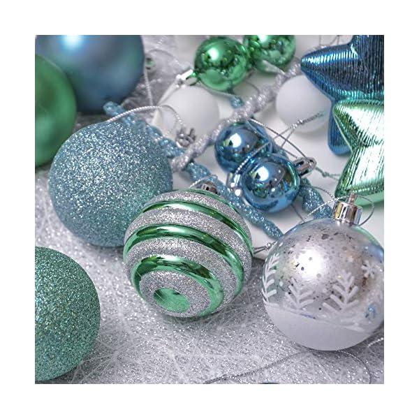 Valery Madelyn Palle di Natale 100 Pezzi di Palline di Natale, 3-5 cm Auguri Invernali Blu Verde e Nastro Infrangibile Ornamenti Palla di Natale Decorazione per Albero di Natale 5 spesavip