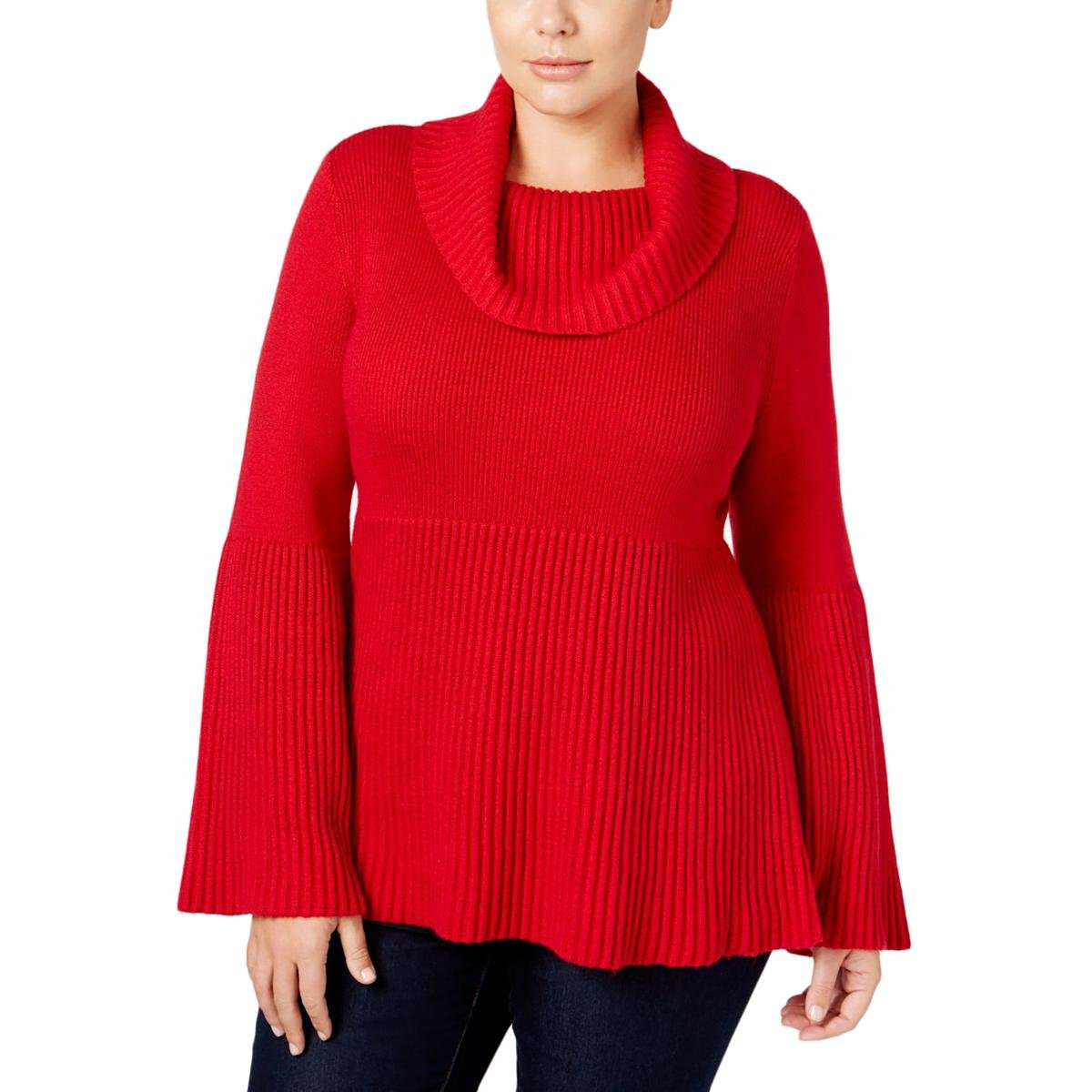 Style & Co.. Womens Plus Knit Ribbed Trim Sweater Red 3X