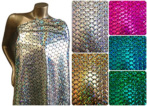 Shiny Holographic Foil Mermaid Scales Pattern on Black Stretch Nylon Spandex Shiny Tricot Fabric By the Yard (Silver)