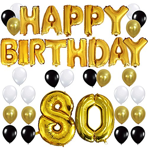 "KUNGYO 80TH Birthday Party Decorations Kit - Happy Birthday Balloon Banner, Number ""80"" Balloon Mylar Foil, Black Gold White Latex Ballon, Perfect 80 Years Old Party Supplies"