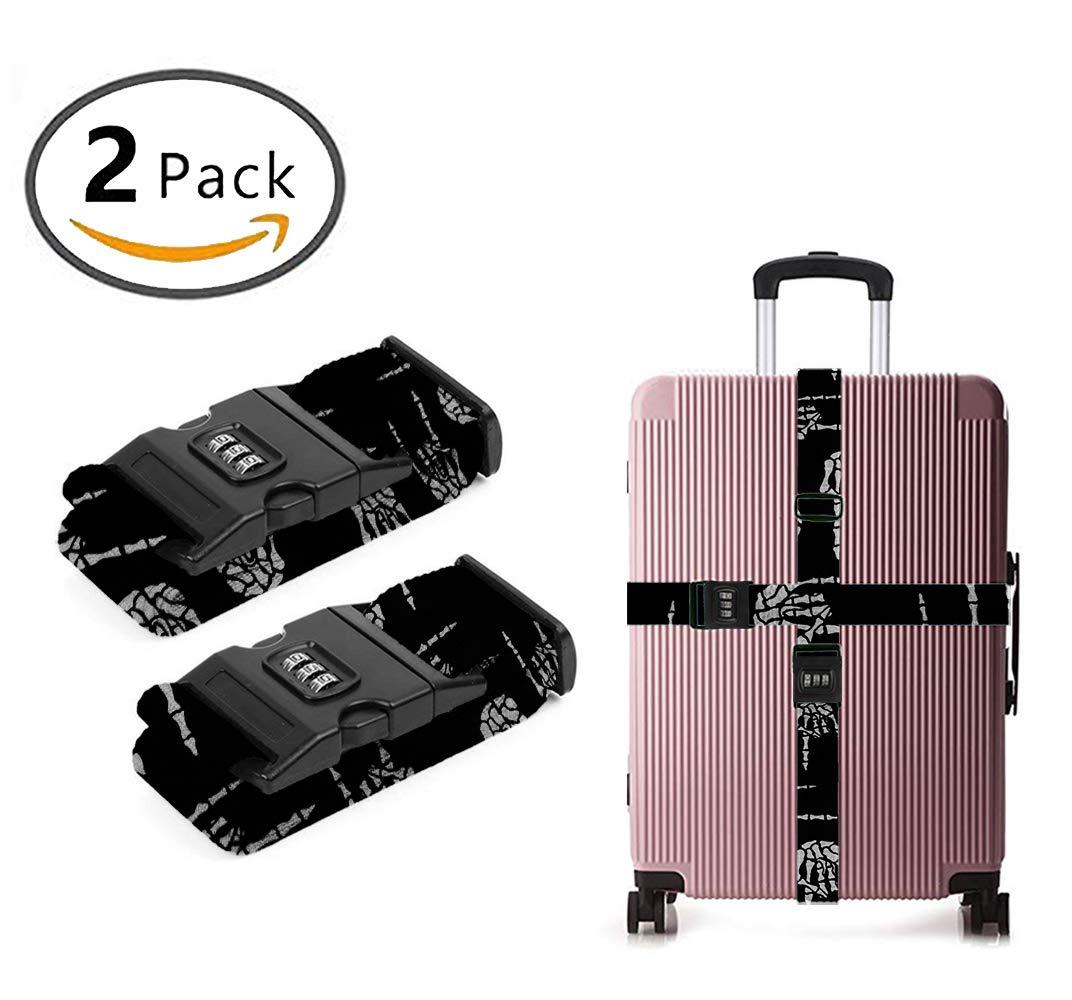 OKAYDECOR Luggage Strap with Combination Lock, Heavy Metal Skull Rock Hand