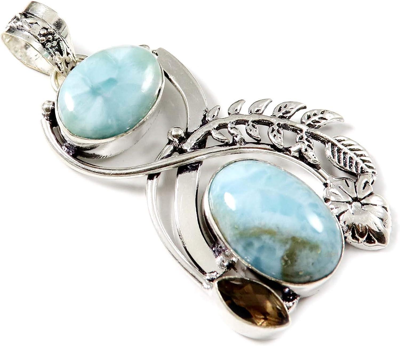 Goyal Crafts Larimar - Colgante chapado en plata de cuarzo ahumado con piedra natural GPAL16