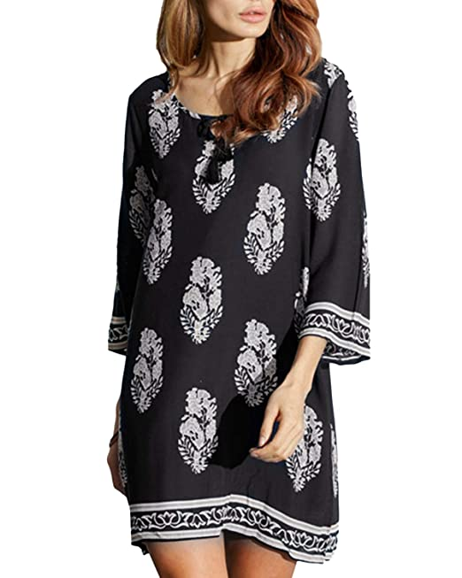 Women/'s Dress Boho Short Floral Cocktail Party Shirt Dress Maxi Long Sleeve