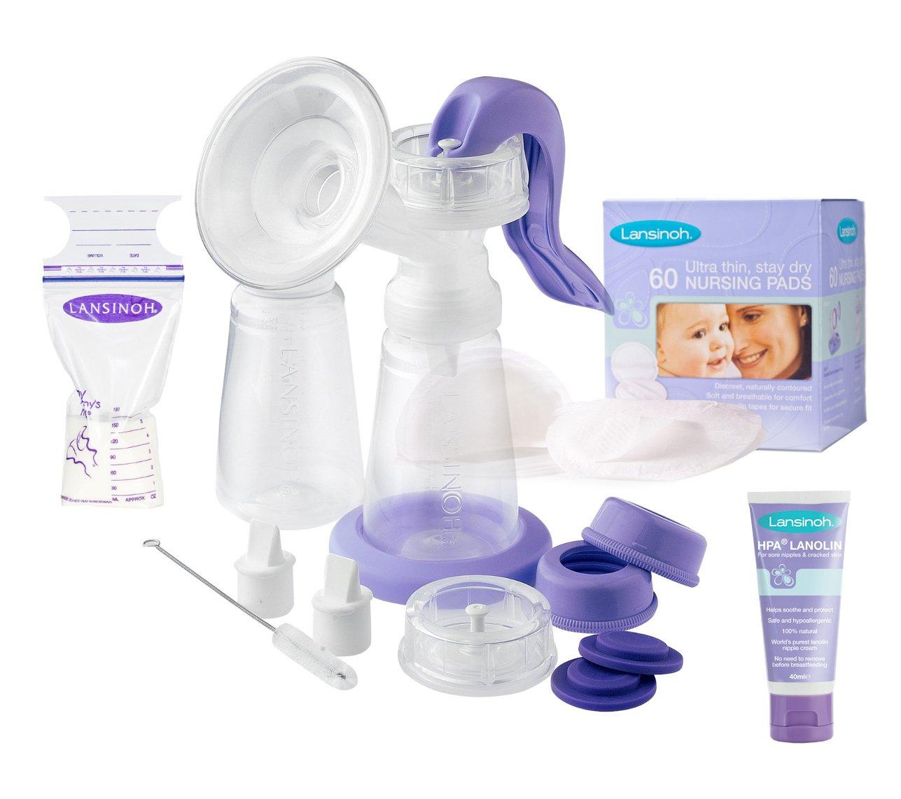 Lansinoh Handmilchpumpe Starter-Set mit 25 x Muttermilchbeutel + 40ml Lanolin Brustwarzensalbe + 60 x Stilleinlagen