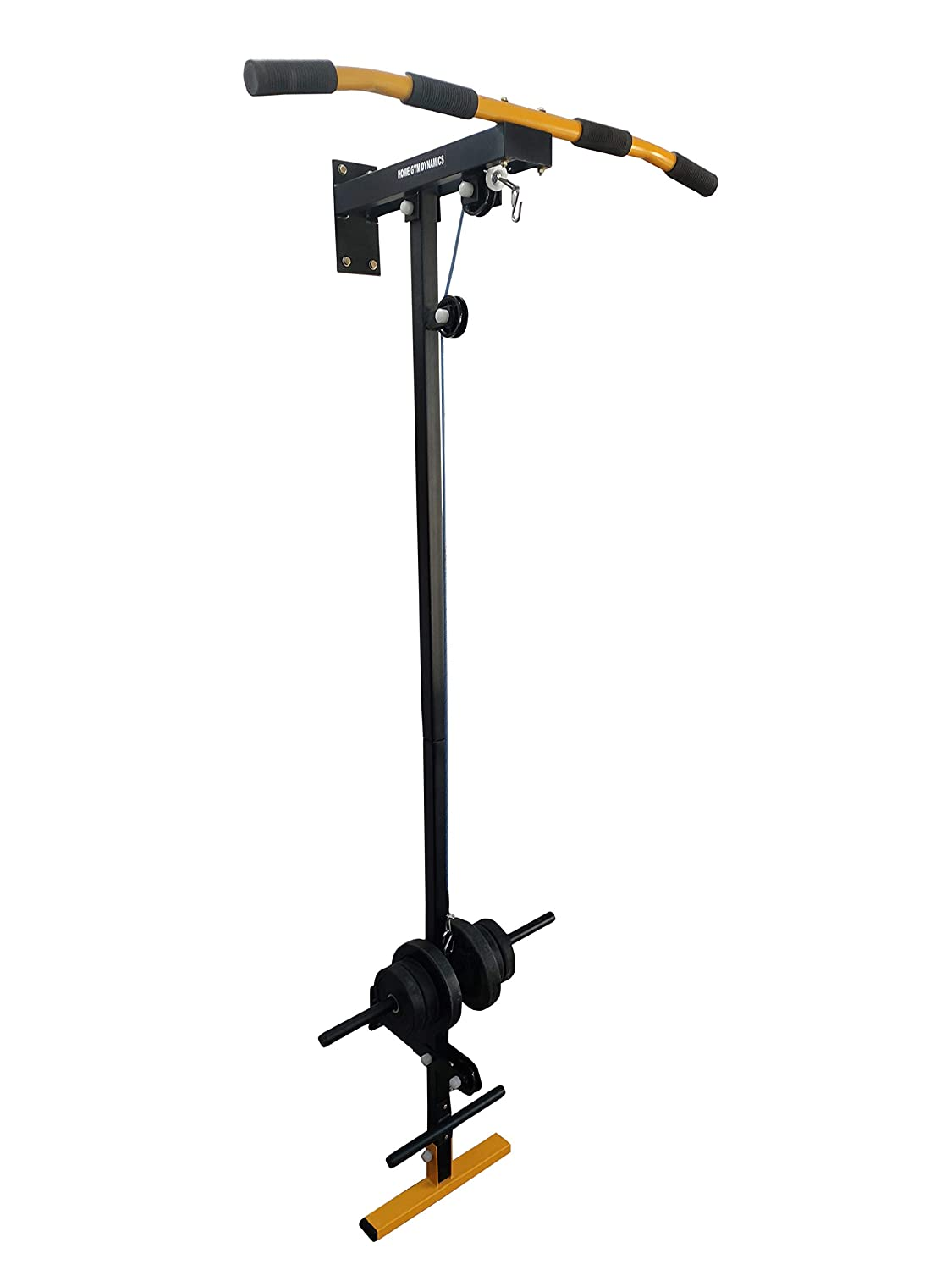 Home Gym Dynamics Pull Up Bar with Top Bottom Pulley Heavy Duty Wall Mounted Strength Training Equipment