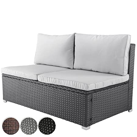 Miadomodo Polyrattan Garden Sofa 2-Seater Outdoor Patio Furniture ...