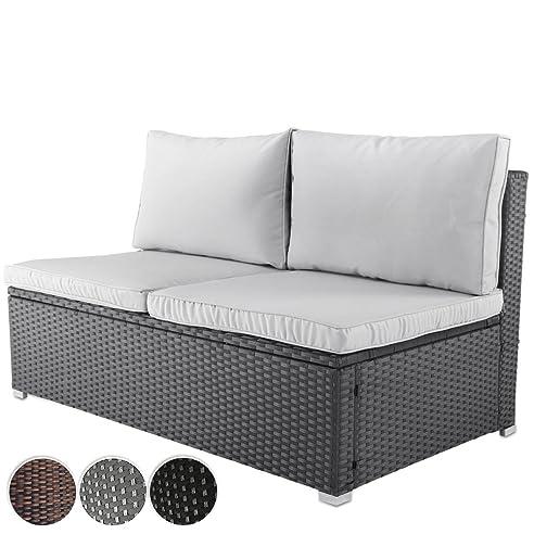 Bequemes Loungesofa Aus Polyrattan Für Bis Zu 2 Personen Zweisitzer  Gartenmöbel Inkl. Sitzkissen  Farbwahl