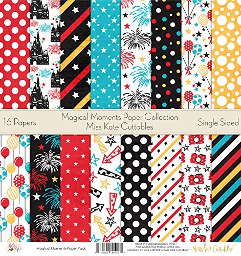 Pattern Paper Pack - Magic Moments - Scrapbook Card Stock Single-Sided 12''x12'' Collection Includes 16 Sheets - by Miss Kate Cuttables by Miss Kate Cuttables