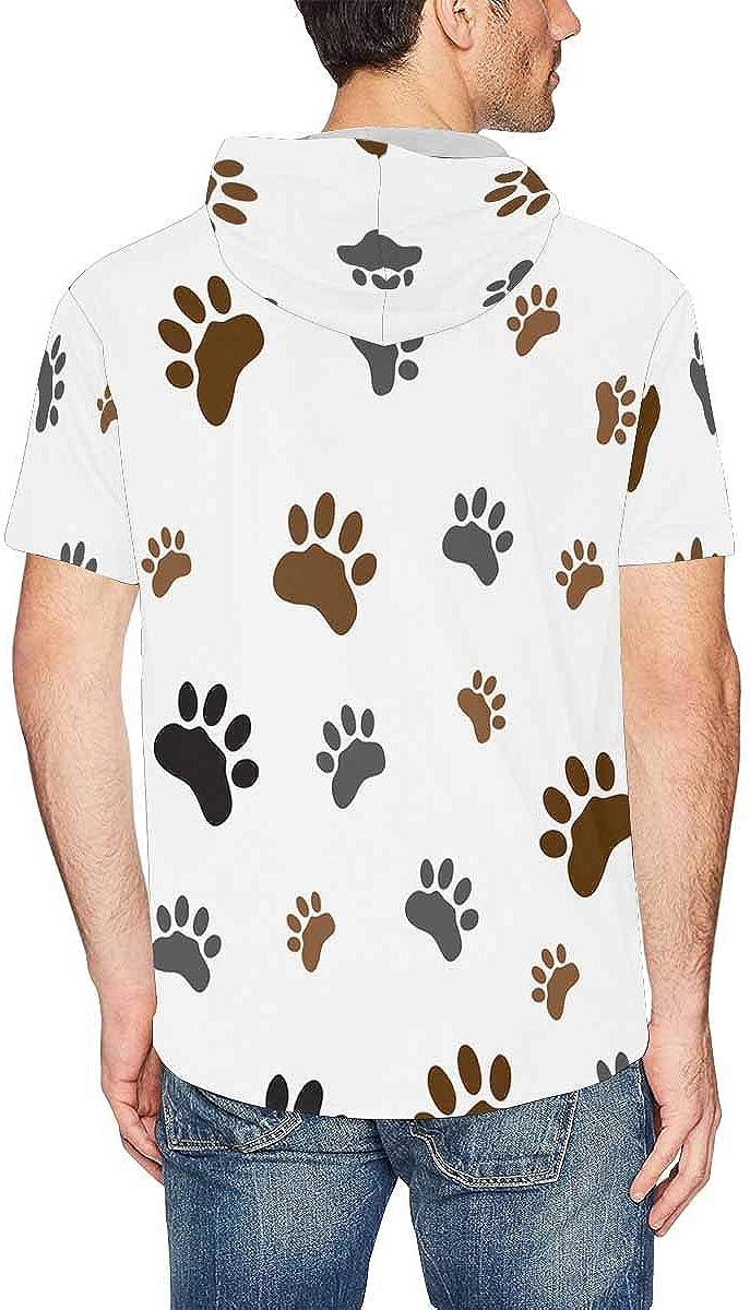 INTERESTPRINT Mens Short Sleeve Hoodies Pullover Dinosaurs Cartoon Drawstring Shirts Tops