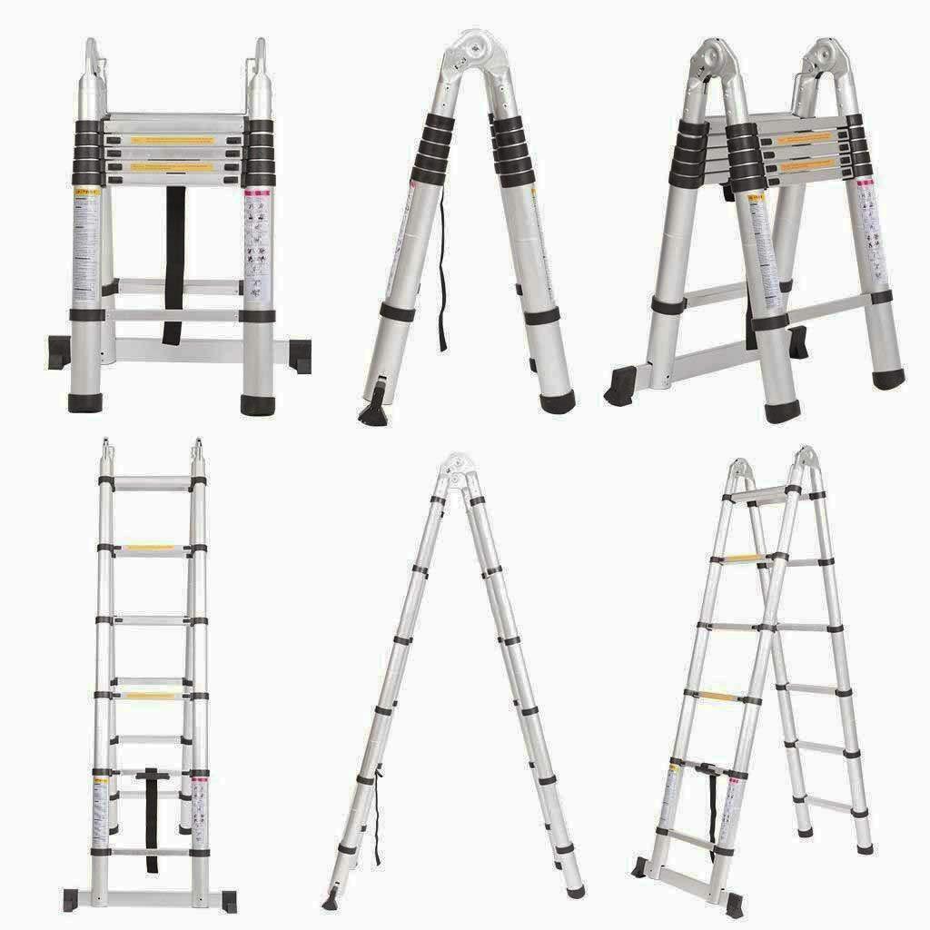 belastbar bis 150 kg 88cm zu 380cm 3,8 M Alu Teleskopleiter Klappleiter 12 Sprossen Ausziehbare Leiter Mehrzweckleiter mit Rutschfeste Gummif/ü/ße