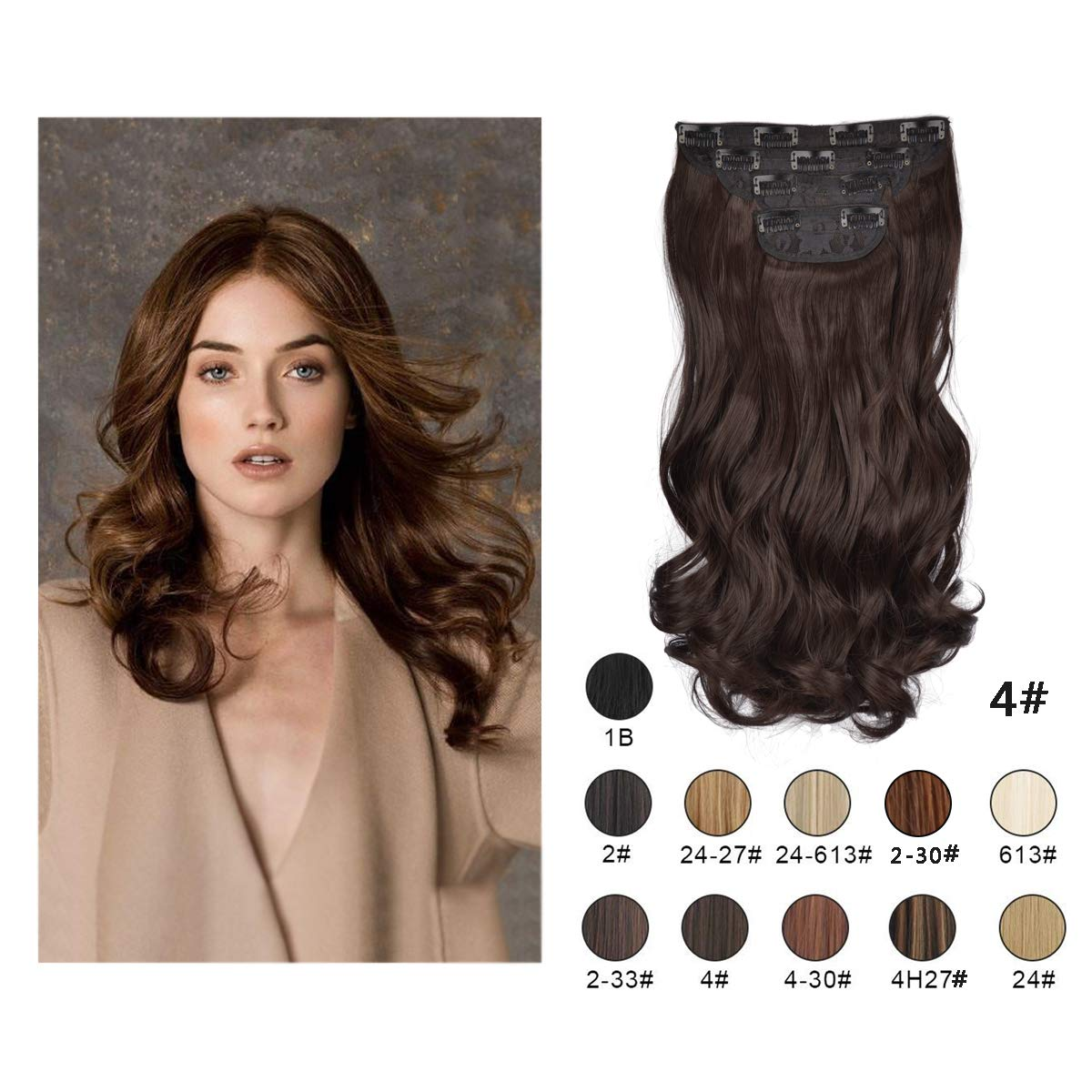 Barsdar 20'' Clips in Hair Extensions 4P11C Wavy Curly Hairpiece For Women lady Synthetic Heat Fiber Hair Extension (4#)