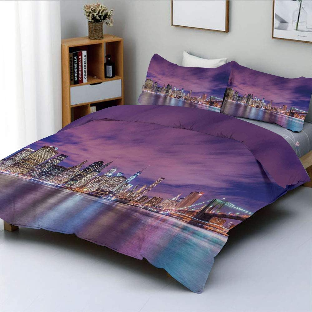 Duplex Print Duvet Cover Set Queen Size,New York City Skyline at Night with Skyscrapers Manhattan USA American PanoramaDecorative 3 Piece Bedding Set with 2 Pillow Sham,Violet Purple,Best Gift For Kid