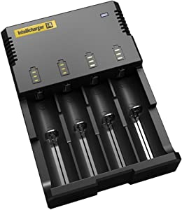 Nitecore Intellicharger New I4 V2 Universal 4 Channel Li-Ion Ni-Cd Ni-MH Smart Charger, Black