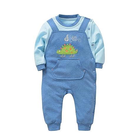 HJXJXJX Ropa de bebé Primavera y otoño Azul Claro de Manga Larga de algodón de un