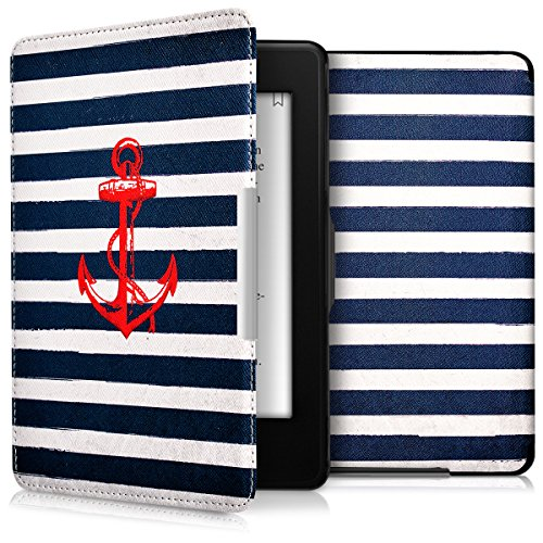 kwmobile Case for Amazon Kindle Paperwhite - Book Style PU Leather Protective e-Reader Cover Folio Case - red dark blue white by kwmobile