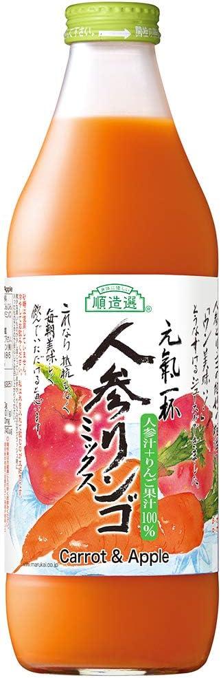 マルカイ順造選 人参りんごミックス〔人参リンゴ混合100%、にんじん、ニンジン〕 瓶1000ml×6本入