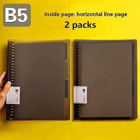Miyabitors 2 Pack B5 Cuaderno De Hojas Sueltas Cuaderno Extraíble Línea Recta Bloc De Notas 26 Orificios Bobina De Papel Relleno Shell Clip Ring (Color : B): Amazon.es: Hogar
